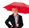 Business woman holding umbrella isolated on white Royalty Free Stock Images