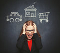 Business woman housewife in stress from many businesses, work, h Royalty Free Stock Photo