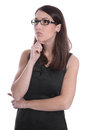 Business woman isolated in black and white with glasses looking attractive sideways Royalty Free Stock Images