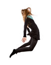 Business woman jumping girl is wearing green shirt black cardigan and skinny pants isolated on white background Stock Photography