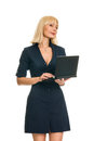 Business woman keeps the laptop Royalty Free Stock Image