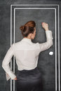 Business woman knock on door Royalty Free Stock Photo