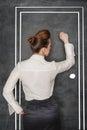 Business woman knock on door