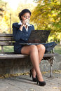 Business woman with laptop on coffee break Royalty Free Stock Images
