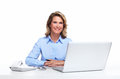 Business woman with a laptop computer. Stock Photo