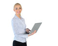Business woman with laptop isolated Royalty Free Stock Images