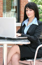 Business Woman with Laptop Outdoors Royalty Free Stock Photography