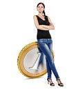 Business woman leans on a coin Stock Photography