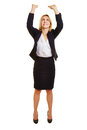 Business woman lifting imaginary object up over her head Stock Image