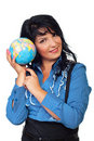 Business woman listening earth sound Royalty Free Stock Photo