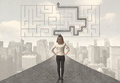 Business woman looking at road with maze and solution Royalty Free Stock Photo