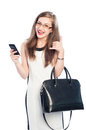 Business woman making call me gesture Royalty Free Stock Photo