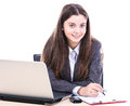 Business woman making a note in a file Royalty Free Stock Photo
