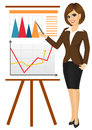 Business woman making a presentation against graphics on flip chart isolated over white background Stock Photos