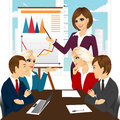 Business woman making a presentation against graphics on flip chart while team members having meeting Stock Images