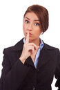Business woman making quiet gesture Royalty Free Stock Photography