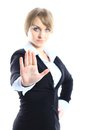 Business woman making stop sign over white focus on hand Stock Image