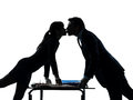 Business woman man couple  lovers kissing silhouette Royalty Free Stock Photo