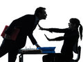 Business woman man couple sexual harassment silhouette Royalty Free Stock Photo