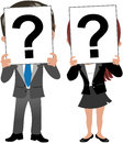 Business woman and man face behind question mark cartoon meg bob holding piece of paper with a hiding their own isolated on Stock Images