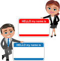 Business woman and man introducing theirself cartoon meg bob with big hello my name is card isolated on white background Stock Image