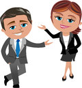 Business woman and man presenting cartoon meg bob something isolated on white background you can find other illustrations Stock Images