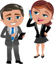 Business woman and man working with mobile and tablet illustration featuring meg phone bob isolated on white background Stock Images