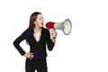 Business woman with megaphone Royalty Free Stock Photo