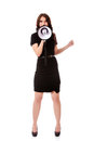 Business woman with megaphone yelling and screaming. Royalty Free Stock Photo