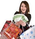 Business woman with money and  bag. Royalty Free Stock Photos
