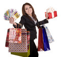 Business woman with money, gift box and bag. Stock Photos
