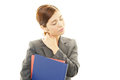 Business woman with neck pain tired young asian Royalty Free Stock Photo