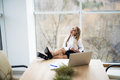 Business woman in office relax Royalty Free Stock Photo