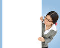 Business woman peeping over white billboard background Stock Photo