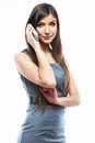 Business woman phone call isolated white background portrait female model Royalty Free Stock Image