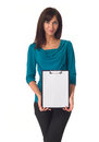 Business woman pointing in blank clipboard beautiful isolated over a white background Royalty Free Stock Photography