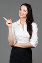 Business woman pointing at copyspace Royalty Free Stock Photo