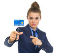 Business woman pointing on credit card Royalty Free Stock Photo
