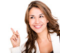 Business woman pointing an idea Royalty Free Stock Photography