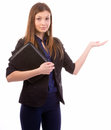 Business woman pointing to open space Royalty Free Stock Photo
