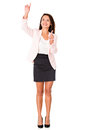 Business woman pointing two places Stock Photography