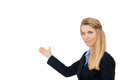 Business woman pointing white copy space towards open for advertisement isolated on background Stock Photo