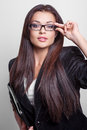 Business woman portrait of beautiful young in glasses Stock Photography