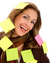 Business woman - post its Stock Photo