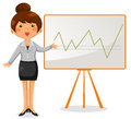 Business woman presenting a chart on the whiteboard Royalty Free Stock Image