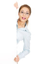 Business woman presenting your product beautiful shocked Stock Images