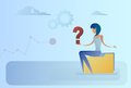 Business Woman With Question Mark Pondering Problem Concept