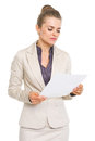Business woman reading document high resolution photo Royalty Free Stock Photo