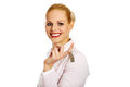 Business woman real estate agent holding keys Royalty Free Stock Photo