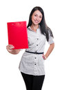 Business woman with red folder Royalty Free Stock Photography